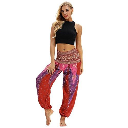 Huihong Damen Haremshose Pumphose Beiläufige Lose Hippie Yoga Hose Baggy Boho Aladin Hose Blumenmuster Hose breite Beinhosen (Rot-A, Free Size)