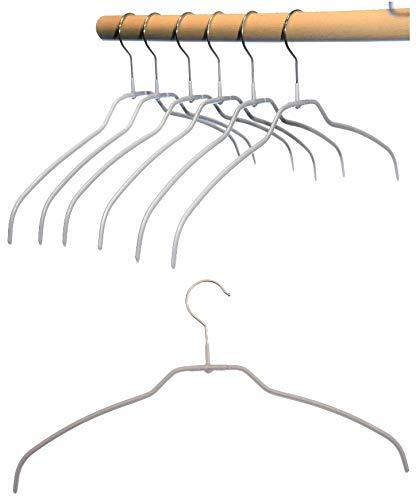 Hagspiel Kleiderbügel aus Metall, Drahtbügel silber rutschhemmend beschichtet, für Hemden oder Blusen, 4 mm, 10 Stk, sehr platzsparend