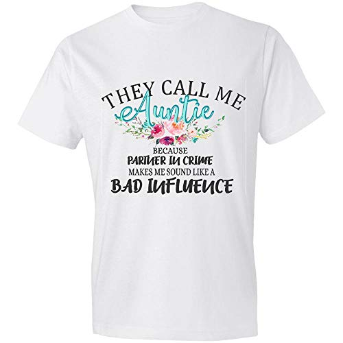 They Call Me Auntie Because Partner in Crime Makes Me Sound Like A Bad Influence Flower Mug, Funny Auntie Gifts, Mo_ther's Day Gift T-Shirt,Gift
