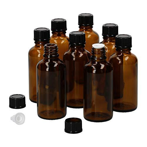 MamboCat 8tlg.-Set Miniaturflaschen mit Tropfer 50 ml I Tropfflasche aus Braunglas I Apothekerfläschen mit Tropfeinsatz I UV-geschützte Medikamenten-Aufbewahrung I Wiederverwendbar