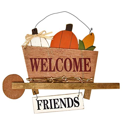 Gift Boutique Thanksgiving Hanging Welcome Friends Sign Decoration Harvest Wheelbarrow Wooden Wall...