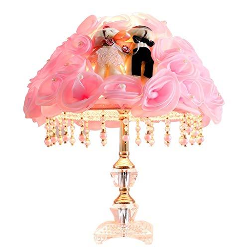 KANJJ-YU Lámpara pastoral dormitorio mesita de noche creativa romántica simple moderna sala de boda cálida luz romántica hogar europeo princesa lámpara de mesa atenuación rosa lámpara de mesa