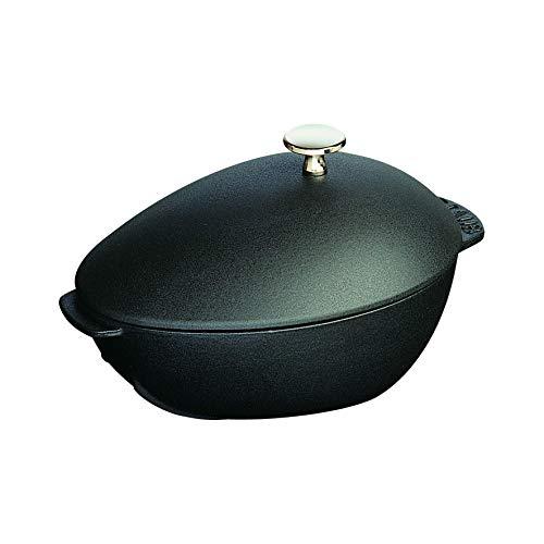 Staub 1102523 Muscheltopf, mit Deckel 25 cm, 2,0 L, induktionsgeeignet mit mattschwarzer Emaillierung im Inneren des Topfes, schwarz