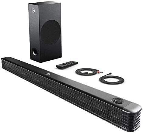 Bomaker Soundbar für TV Gerät mit Wireless Subwoofer, 2.1 Kanal Bluetooth 5.0 Soundbar 150W Heimkino Soundbarsystem unterstützt Koaxiale,Optisch, AUX, USB