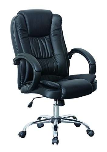 HNNHOME® High Back Padded Swivel Executive Home Office Desk Chair with Armrest and Back Support, Height Adjustable, Faux Leather (Black)