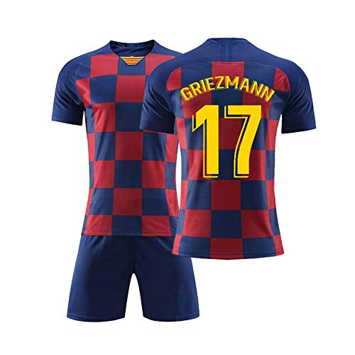 COOLBOY 2019-2020 Griezmann 17# Football Soccer T-Shirt Jersey - Boys-Girls-Youth Sport Shirts and Shorts Set,XL