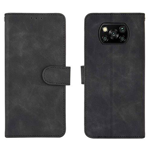 HAOTIAN Leder Hülle für Xiaomi Poco X3 NFC/Poco X3 Pro Hülle, Premium PU/TPU Leder Folio Hülle Schutzhülle Handyhülle, Flip Hülle Klapphülle Lederhülle mit Standfunktion und Kartensteckplätzen, Schwarz