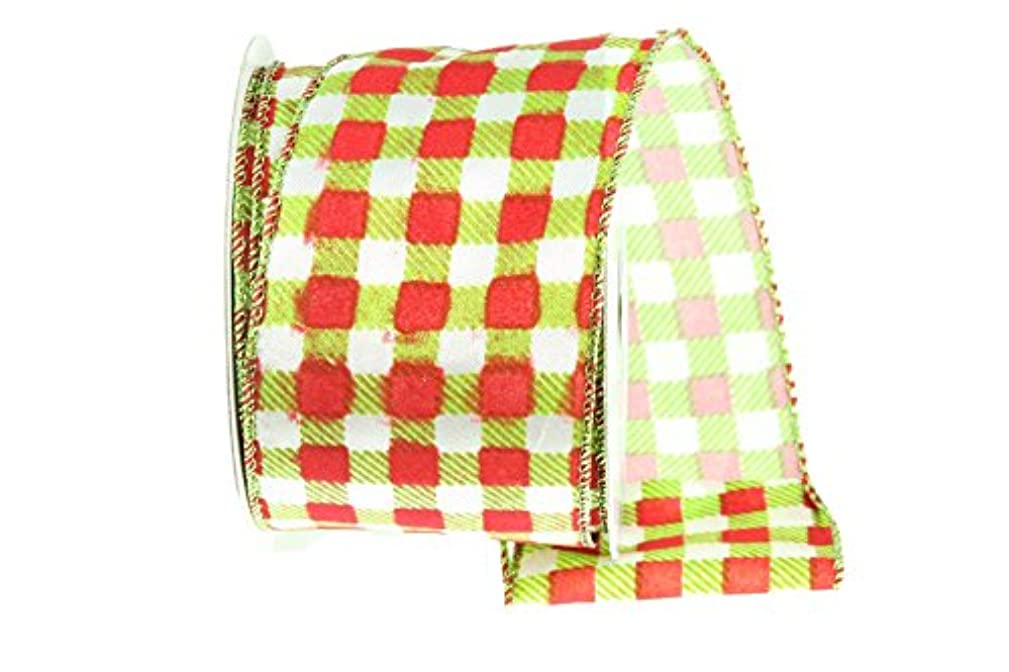 Renaissance 2000 17470 Satin Check Pattern Fabric Ribbon, Lime/Red/White