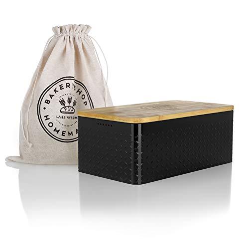 LARS NYSØM® Brotkasten I Brotbox aus Metall mit Brotsack aus Leinen für langanhaltende Frische I Brotdose mit hochwertigem Bambusdeckel verwendbar als Schneidebrett I 34x18.5x13.5cm (Schwarz)