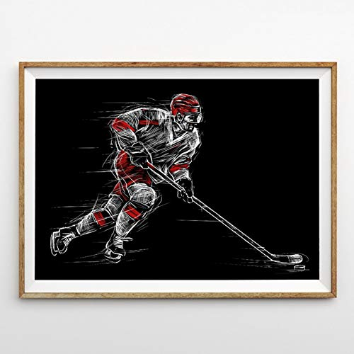 MMLUCK Canvas Decorative Painting Ice Hockey Player at Rink Wall Art Poster Canvas Painting Boys Room Wall Decor Sports Illustration Picture Prints Decoration-60x90cm