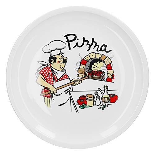 Van Well Pizzateller groß Ø 29.5 cm mit Küchenchef-Motiv Gastro-Zubehör Pizza-Bäckerei stabiles Porzellan-Geschirr Grill-Teller Servier-Platte Antipasti