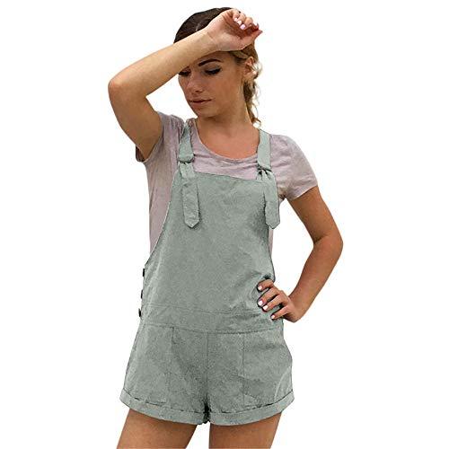 Amphia Damen Overall Kurz Elastische Taille Latzhosen Leinen Baumwolle Taschen Strampler Playsuit Shorts Hosen, Grün, M