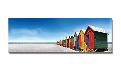 Visario 5716 Bunte Holzhäuser auf Leinwand und echtem Holzrahmen deutsche Marke Wandbilder, Holz, natur, 120 x 40.0 x 1.0 cm