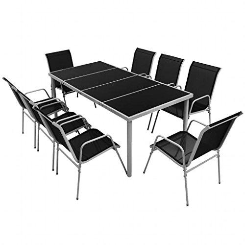 Lingjiushopping Ensemble de meubles de salle à manger pour Jard ¨ ªn 9 pièces Noir Matériel de la chaise : Structure d'acier avec revêtement en céramique de poussière + textilène
