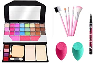 Makeup Kit For Girls + 5 Pcs Makeup Brushes + 2 Pc Blender Puff + 36H Black Waterproof Liquid Eyeliner (6155)
