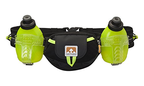 Nathan Hydration Running Belt Trail Mix - Adjustable Running Belt - Includes 2 Bottles - Fits iPhone 6/7/8 Plus and Other 6.5 Inch Smartphones - Black/Safety Yellow