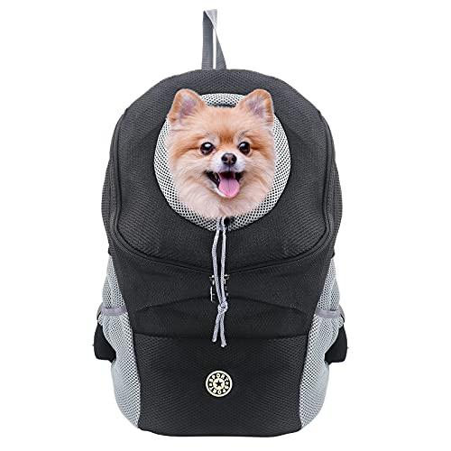 Buwico Hunde- und Katzen Hunderucksack, Welpen-Haustier-Front-Paket mit atmungsaktivem Head-Out-Design und gepolsterter Schulter zum Wandern im Freien