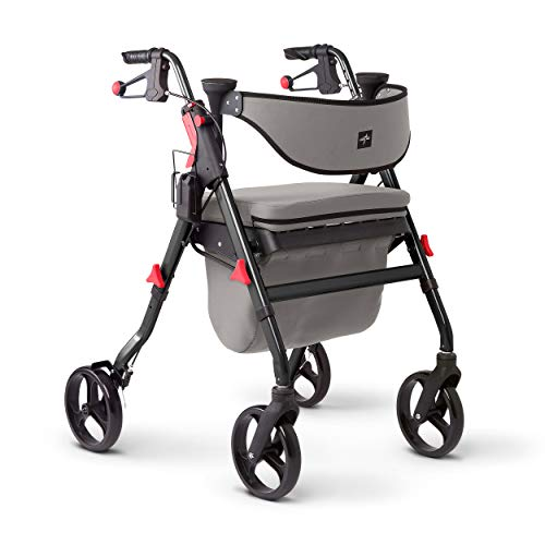 """Medline Premium Empower Rollator Walker with Seat, Comfort Handles and Thick Backrest, Folding Walker for Seniors, Microban Antimicrobial Protection, 8"""" Wheels, Black Frame"""