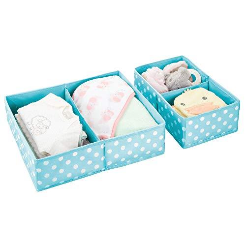 mDesign Juego de 2 cajas para guardar ropa – Práctico organizador de armario en 2 tamaños para los cajones – Bonitas cajas de tela con 2 compartimentos y diseño de puntos – azul turquesa y blanco