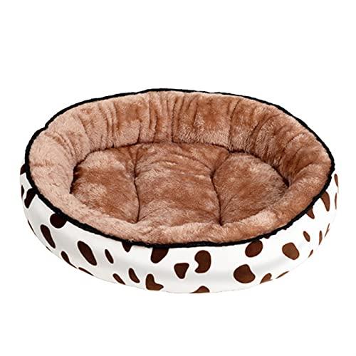 JSJJAUJ Haustierbett Hundebett Erwärmung Zwinger waschbarer Haustier-Floppy extra Bequeme Plüsch-Rim-Kissen und Nonlip-untere Hundebetten für große kleine Hunde Haus (Color : Cow Coffee, Size : S)