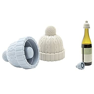 Monkey Business Beanie Cap Silicone Bottle Stopper, Set of Two, Novelty Cork Replacement, Beverage Keeper, by (Blue/Gray; Red/Gray; See Color Options)