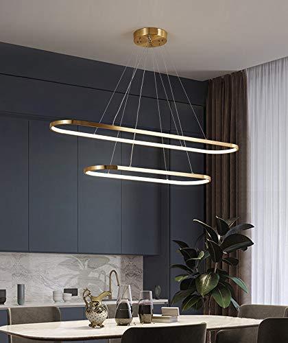 Copper Pendant Light Dining Room Living Room Hanging Lamp Dining Table Kitchen Dimmable LED Pendant Light Brass Oval Modern Ceiling Lamp Hallway Corridor Chandelier Bedroom Study Gold (90 + 120 cm)