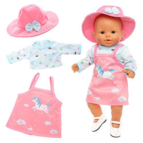 Miunana Kleidung Puppenkleidung Outfits für Baby Puppen, Einhornmuster Kleidung + Hut + Schuhe für 35-40 cm New Born Baby Doll (Pink)