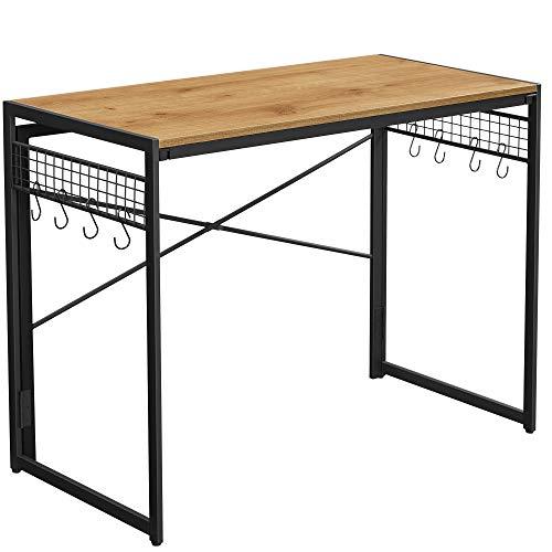 VASAGLE Computertisch, klappbarer Schreibtisch mit 8 Haken, Arbeitsstation, kein Werkzeug erforderlich, Industrie-Design, für Homeoffice, Laptop und PC, honigbraun-schwarz LWD042B05