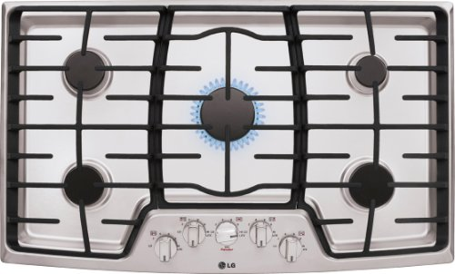 LG LCG3611ST 36' Stainless Steel Gas Sealed Burner Cooktop