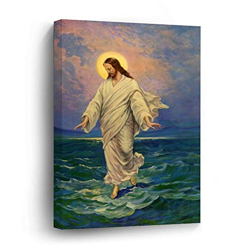 Vintage Religion, Jesus Christ is Walking On Water Canvas Picture Painting Artwork Wall Art Poto Framed Canvas Prints for Bedroom Living Room Home Decoration, Ready to Hanging 24'x36'