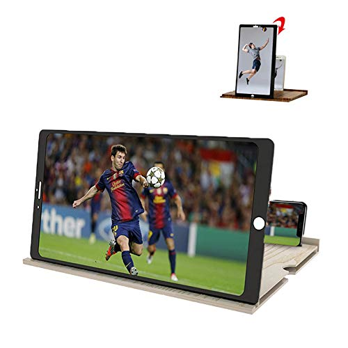 12 inch Screen Magnifier- Free Switching Between horizontal and Vertical Screens,3D HD Mobile Phone Magnifier Projection Surface for Movies, Videos and Games,Solid Wood Grain Folding Screen (White)