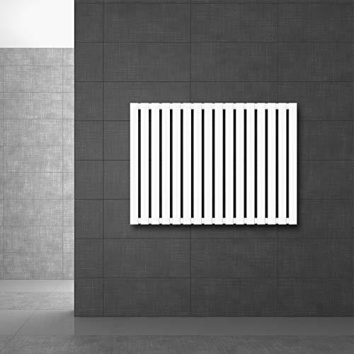 ECD Germany Stella Radiador de panel horizontal 630 x 865 mm - Blanco - Horizontal - Conexión lateral - Calefactor moderno - Radiador de baño - Radiador plano - Calentador toallas - Secador toallas