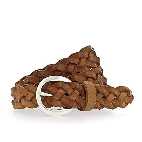 Vanzetti Mädchengürtel, geflochtenes und geprägtes Leder Breite: 2,5 cm, Cognac, 75 cm