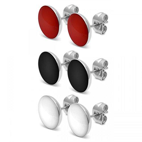 SoulCats® 3 Paar runde Ohrstecker aus Edelstahl als Set in den Farben rot weiß und schwarz, glänzend