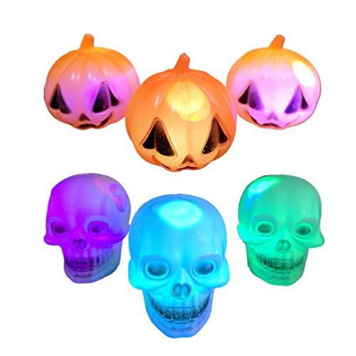 Amosfun Kürbis Schädel Scheinwerfer LED Halloween Dekoration Lichter für Halloween Patio Party Halloween Dekorationen Partei begünstigt Lieferungen 6pcs