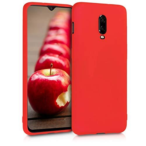 kwmobile Cover compatibile con OnePlus 6T - Custodia in silicone TPU - Backcover protezione posteriore- rosso fluo