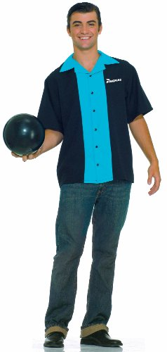 Forum Flirtin With The 50S King Pins Bowling Shirt, Black/Blue, Plus Costume