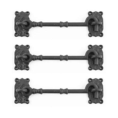 Renovators Supply Black Cabin Hook Eye Latches 7.3' Long Decorative Wrought Iron Privacy Hook Latch for Kitchen Cabinet, Sliding Barn Door Or Gates Easy Mount Durable Hooks with Hardware Pack of 3