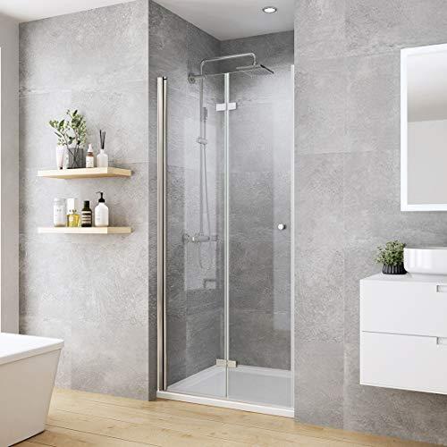 WELMAX 90 cm Falttür Duschtür Rahmenlos Duschabtrennung Nische Duschkabine 6mm ESG Sicherheitsglas Nischentür Dusche Höhe 185cm