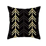 AtHomeShop Fundas de cojín de 50 x 50 cm, de poliéster con estampado de flecha, suave, cómoda, cuadrada, para sofá, dormitorio, oficina, sin relleno, color negro y amarillo, estilo 1