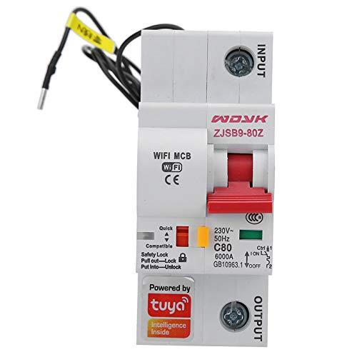 GFHJ1201 Disyuntores Disyuntor WiFi, Interruptor De Circuito Inteligente 1P, Control Remoto Inalámbrico Ircuit Breaker, PA66-DSM Flame Retardant Shell AC 220V
