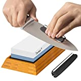 Premium Knife Sharpening Stone - Dual 1000/6000 Grit Japanese Whetstone - Best Sharpener...