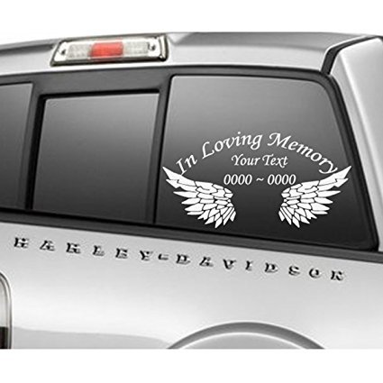 Custom in Loving Memory Wings Personalized Car-Wall-Vinyl Decals Stickers (8 Inches)