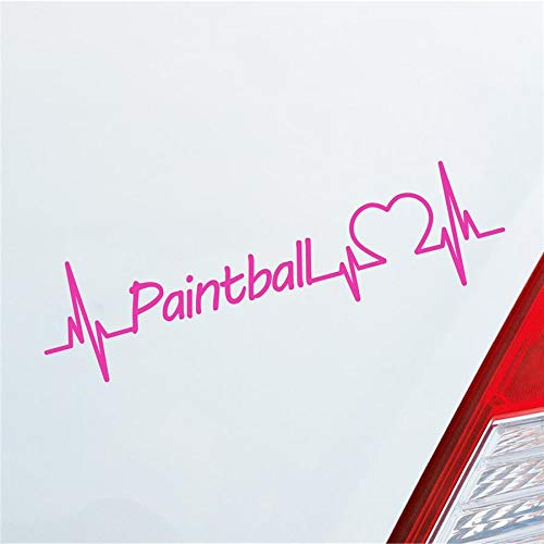 Hellweg Druckerei Auto Aufkleber Paintball Herzschlag Schießen Team Wettkampft Sport Sticker Liebe Pink