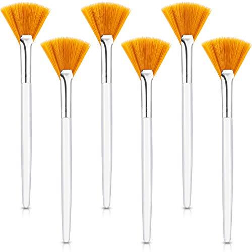 6 Stücke Fächer Masken Pinsel Weiche Fächer Gesichtsmaske Applikator Werkzeuge Pinsel Makeup Pinsel Kosmetische Werkzeuge mit Griff für Schälen Masken Makeup Frauen Mädchen