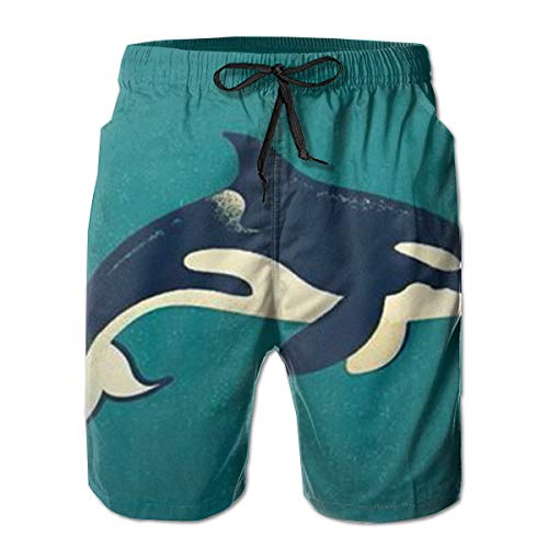 Men's Killer Whale Shorts Swim Trunks Best Board Shorts for Sports Running Swimming Beach Surfing Quick Dry Breathable Bathing Suits Beach Holiday Party Swim Shorts (XL)