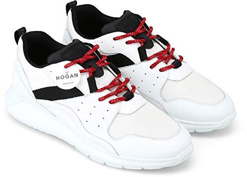 Hogan Interactive³ Sneaker Uomo in Pelle e Tessuto Bianco con Dettagli Nero e Lacci Rossi - HXM3710AQ10JQY737F, Bianco (bianco), 43.5 EU