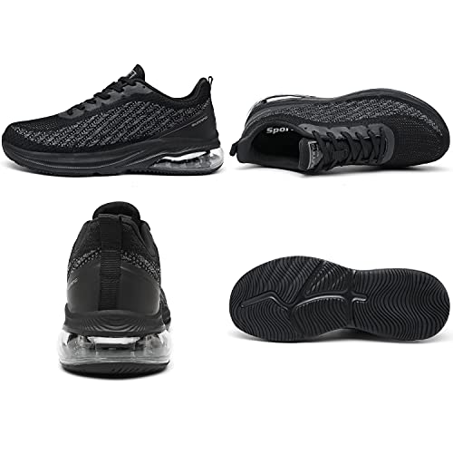 Frysen Zapatillas de Running Hombre Mujer Deportivas Zapatos Hombre para Tenis Correr Gimnasio Deportivas Casual 45EU Black