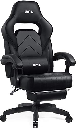 Umi. by Amazon - Gaming Office Ergonomic Computer Desk Chair with Padded Footrest (White)