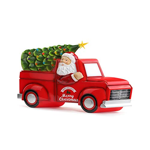 Mr. Christmas Blow Mold Truck with Tree Christmas Décor, Red, Green